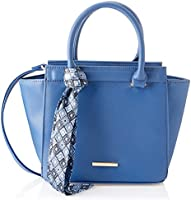 Club Aldo Faux Leather Front-Logo Aztec-Pattern Tie Top-Handle Trapeze Crossbody Bag for Women - Blue