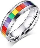 LEYOUDIAN Acero Inoxidable Pulido de Metal con Tapa Rainbow Centro Gay Pride Banda de la Boda, Anillo de Compromiso for Gays o Lesbianas