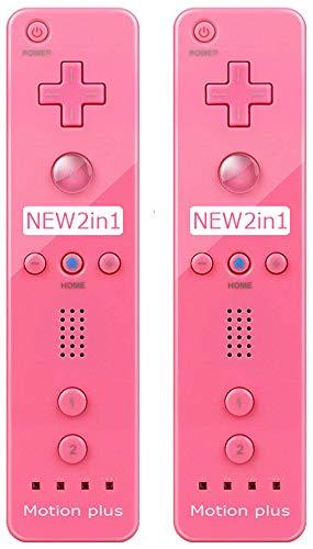 (2 paquetes) – Mando a distancia Motion Plus para Nintendo Wii & Wii U videojuegos Gamepads (rosa)