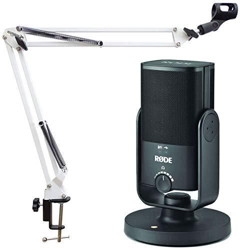 Rode NT-USB Mini microphone à condensateur de studio USB + support de bras articulé Keepdrum NB35WH Blanc
