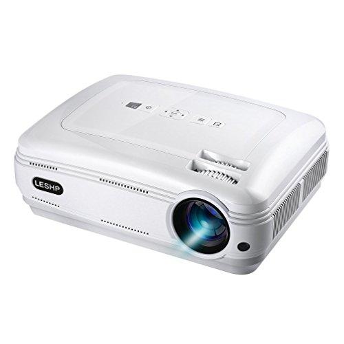 LESHP LEDプロジェクター 3200lm 1080P 1920*1080最大解像度 HDMIケーブル付属 ホームシアター パソコン/スマホ/タブレット/ゲーム機など接続可能 USB/SDカード/HDMI/AV/VGA/Y.Pb.Prサポート 日本語説明書付き(ホワイト)