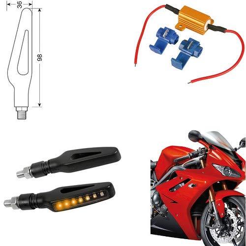 90474 + 61 Paire Clignotants LED Moto Honda NC 700 X indicateurs Direction résistance homologuées universels Moto Noires