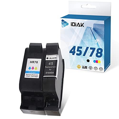 IDIAK Cartuchos de Tinta 45 78 remanufacturados compatibles con impresoras HP 45 78 con HP Color Copier 180 280 Deskjet 1180c 1220c 1280 6120 9300 930c Fax 1220 Negro + Tricolor