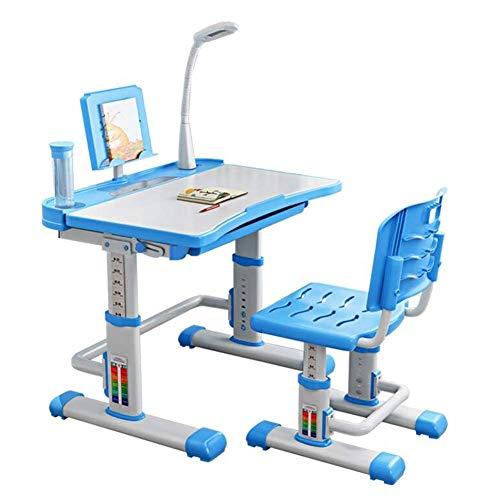 N/Z Tägliche Ausrüstung Tische Stühle Höhenverstellbare Studie Deluxe Functional School Desk Junior Mädchen Jungen Lampe Bücherständer Blau 70cm