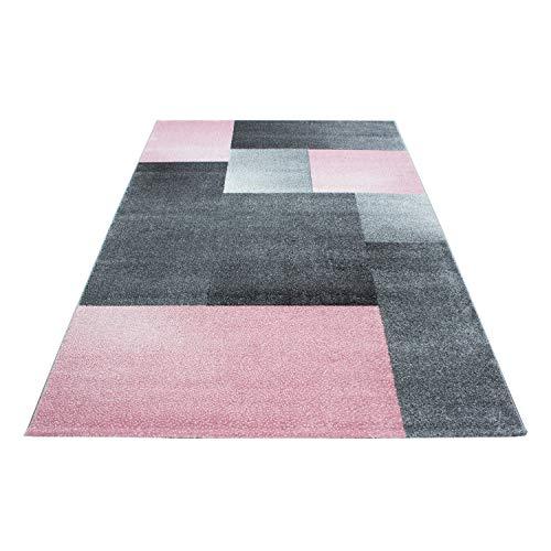 SIMPEX Teppich Modern Designer Wohnzimmer Kariert Kurzflor Meliert Schwarz Grau Pink Weiß, Größe:160x230 cm