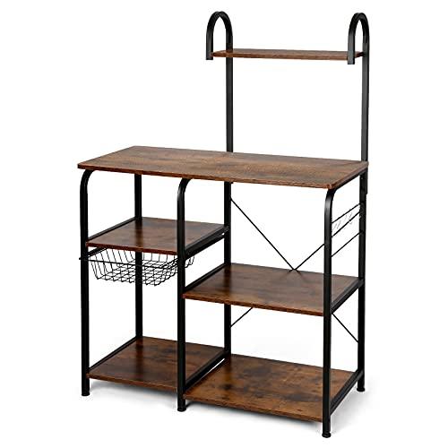 Küchenregal aus Metall und Holz, Mikrowellen-Ablage, multifunktionales Aufbewahrungsregal für Küche, Regal, Küchenregal, Aufbewahrung für Mikrowelle, 90 x 40 x 131,1 cm