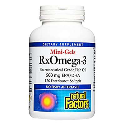 Natural Factors, RxOmega-3 Factors Mini-Gels, Supports Cardiovascular Health with Omega-3 DHA and EPA, 120 softgels (120 servings)