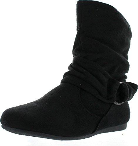 Beston Forever Selena-58 Women's Fashion Mid Calf Flat Heel Side Zipper Slouch Boots Black 6.5