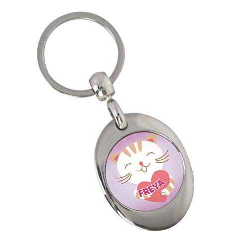 Schlüsselanhänger mit Namen Freya und Katzen-Motiv | Namens-Anhänger mit Einkaufs-Chip für Kinder und Erwachsene
