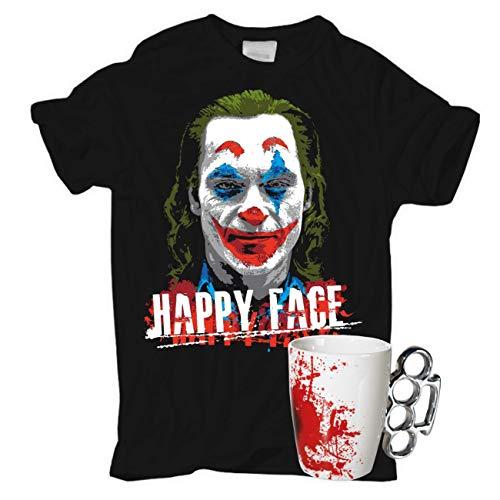 Männer und Herren T-Shirt Happy Face + Schlagringtasse Kaffee Becher Tasse Weiss mit Blut Design Größe S - 5XL