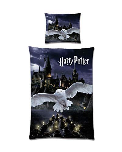 Harry Potter - Juego de cama reversible (135 x 200 cm, 80 x 80 cm, 100% algodón), diseño de Hogwarts