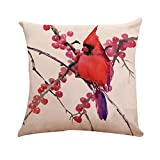 Taie d'oreiller en Lin Coton, Malloom Classique Style Chinois Oiseau Arbre imprimé Housse de Coussin Taille Housse Home Decor
