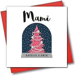 Welsh Language Embellished Christmas Greeting Card, Mami, Nadolig Llawen, Mummy Happy Christmas, Snow Globe