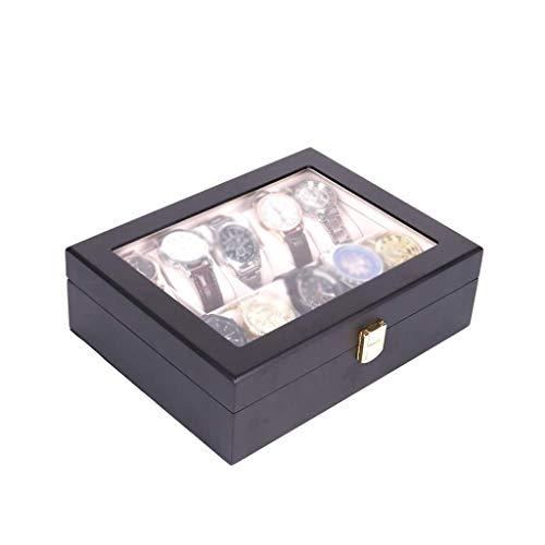 LIYONG Organizador de Caja de Relojes de joyería para Hombres con Cerradura y visualización de Vidrio, Estuche para Accesorios de joyería para Hombres, Negro HLSJ