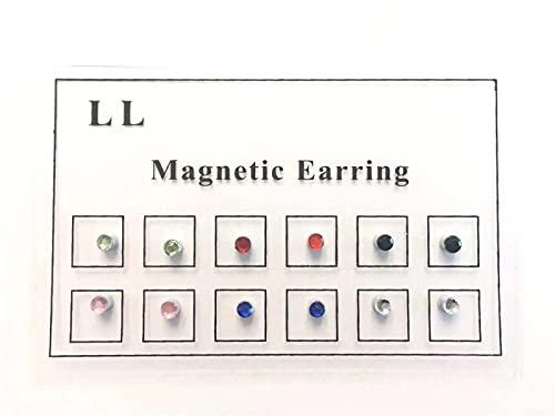 12 Pcs Magnetic Crystal Fake Ear Stud, Crystal Magnetic Stud Earring Magnet Nose Ear Lip Stud Non Piercing, Colorful Crystal Magnet Earrings for Men Women
