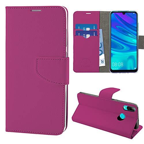NewTop Cover Compatibile per Huawei P Smart 2019/Plus/Honor 10 Lite, HQ Lateral Custodia Libro Flip Magnetica Portafoglio Simil Pelle Stand (per P Smart 2019/Honor 10 Lite, Fucsia)