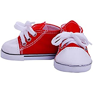 Yukong 18inch Canvas Lace Up Sneakers Shoes For American Girl Doll Accessory (Red):Cartoonhd