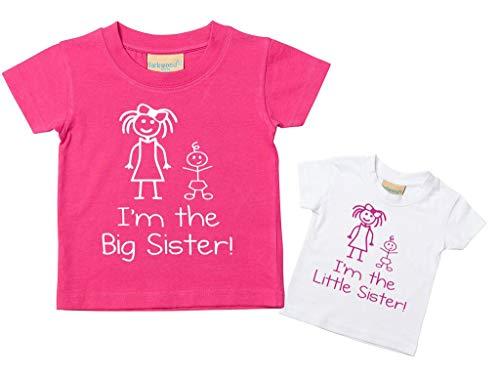 Lot de t-shirts avec inscriptions « I'm The Little Sister » et « I'm The Big Sister », pour bébés, tout-petits, enfants, disponibles en tailles de 0 à 6 mois jusqu'à 14-15 ans, cadeaux pour sœurs rose rose Little 12-18 Months Big 9-11 Years