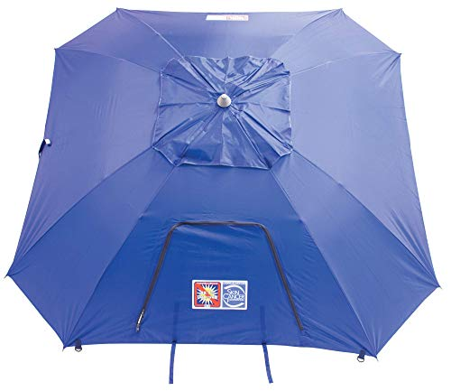 Rio Brands Beach 9' Outdoor Total Sun Block Extreme Shade Umbrella and Sun Shelter - Blue (ETSB9-28-1)