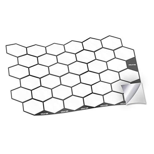 WALPLUS 28,5 x 14 cm @ 12 pegatinas de pared con forma de panal de color blanco brillante para azulejos de cocina, baño, transferencia de azulejos