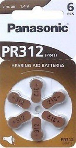 Wentronic V312 6-BL (PR41/PR312H) Panasonic Zink-Luft 1.4V Nicht wiederaufladbare Batterie - Nicht wiederaufladbare Batterien (Zink-Luft, Knopf/Münze, 1,4 V, 6 Stück(e), 180 mAh, Silber)