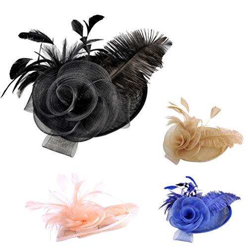 Lurrose 1 PC Sombrero de novia Hermoso Hilo de lino elegante Pluma...