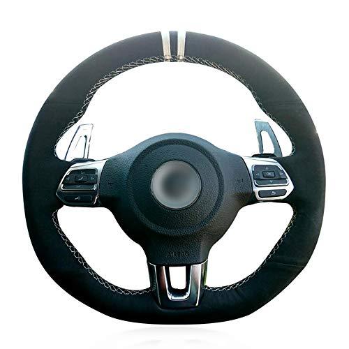 HCDSWSN Fundas para Volante de Coche,para Volkswagen Golf 6 GTI MK6 Polo GTI Scirocco R Passat CC R-