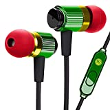 GOgroove Durable Heavy Duty Earbud Headphones (Rasta) - Ergonomic Earphones with Fiber-Reinforced Cable, Microphone, in-Line Music Button - in-Ear Noise Isolation & Rugged Metal Driver Housing