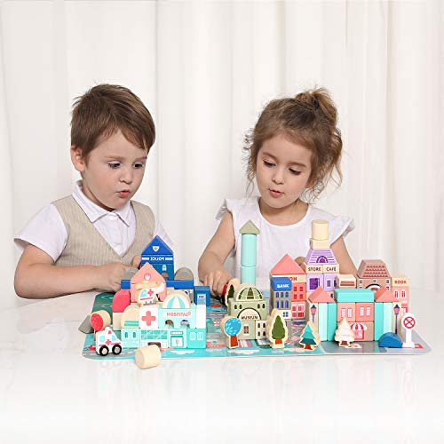 Wooden Building Blocks Set , City Construction Stacker Stacking Preschool Learning Educational Toys , Toddler Toys for 3+ Year Old Boy and Girl Gifts .