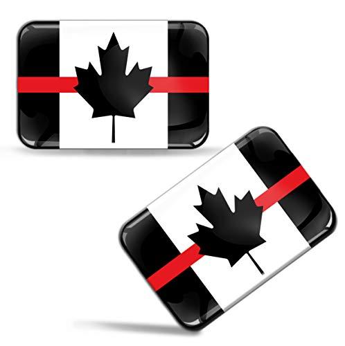 Biomar Labs 2 x sticker 3D gel siliconen stickers Canadese vlag Canada Thin Rood Line vlag Auto Motorfiets raam deur PC mobiele telefoon Tablet Laptop F 42