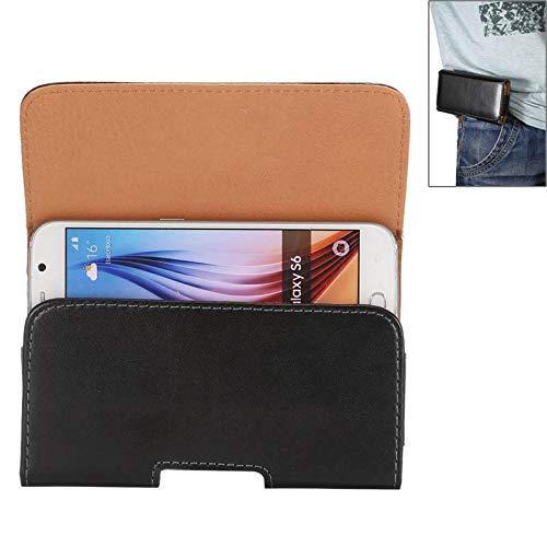 JDQSK beschermhoes en dekzeil voor iPhone X, Galaxy S7 / S6 / S5 / i9082 5,2 inch, leer, horizontaal, draaibaar, universele tekst, met gat voor de armband (zwart), blue
