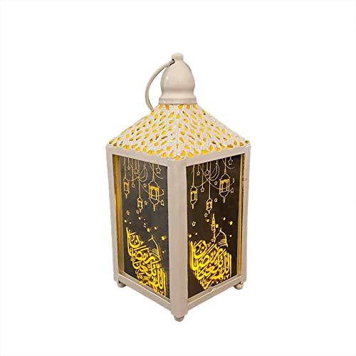 Ramadan Laterne Eid Mubarak Licht Muslim Ramadan dekorative Laternen Festival Home Party Dekor LED hängen Schmiedeeisen Nachtlicht (E)