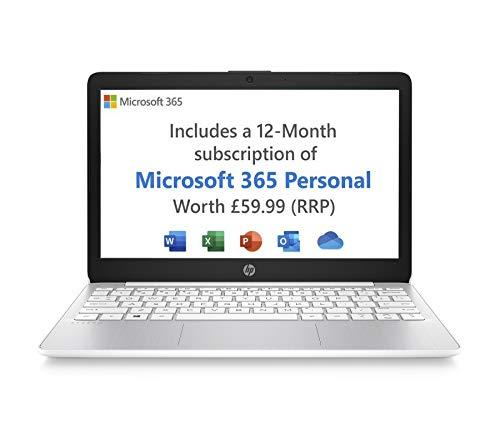 HP Stream 11-ak0018na 11.6 Inch Laptop, White (Intel Celeron N4020, 2 GB RAM, 32 GB eMMC, Windows 10 Home S) - Microsoft 365 (12 Month Free Subscription Included)