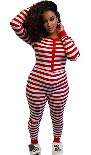 Women Striped Christmas Pajamas V Neck One Piece Bodysuit Bodycon Romper Long Sleeve Sleepwear Red and White