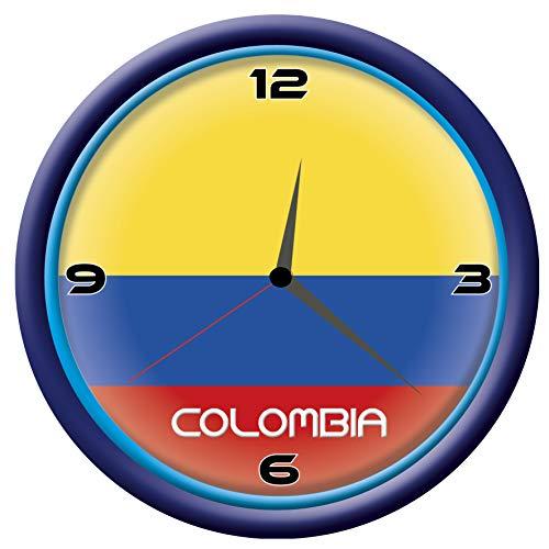 Tipolitografía Ghisleri Reloj Colombia de pared con bandera Diámetro de 28 cm