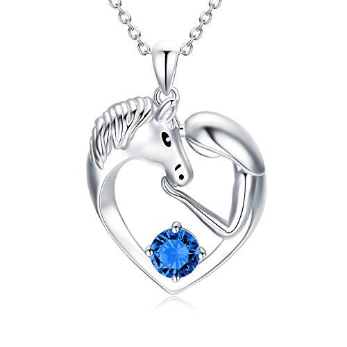 Pferde Kette Sterling Silber Damen Herz Anhänger Halskette mit Kristallen, Pferde Schmuck Geburtstagsgeschenk für Mädchen Frauen (Simulierter Saphir)
