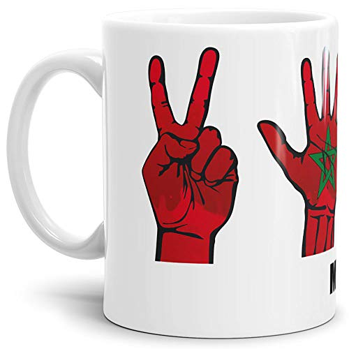 Tassendruck Flaggen-Tasse mit Handzeichen von Marokko - Weiss - Fahne/Länderfarbe/WM/Weltneisterschaft/EM/Europameisterschaft/Cup/Tor/Qualität Made in Germany