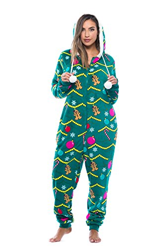 Just Love 6342-10219-M Adult Onesie/Pajamas, Medium, Christmas Tree Print