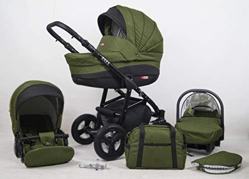 Juego de cochecito para cochecito infantil con silla de paseo 3en1 Isofix Axel by Lux4Kids Olive 2en1 sin asiento