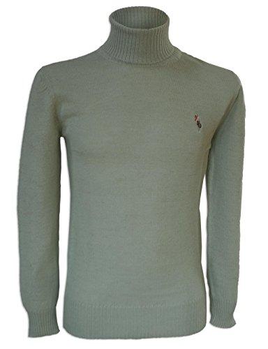 Posh Gear Hommes col roulé Pull Colloalto 100% Alpaga Laine, Blanc Vert, Taille L