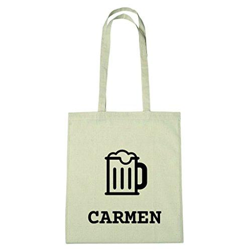 JOllify Baumwolltasche - Happy Birthday für CARMEN - Bier Gruß