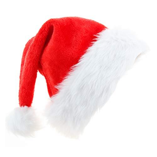 Ptsaying, cappello di Babbo Natale con bordo in pelliccia di peluche, morbido e confortevole