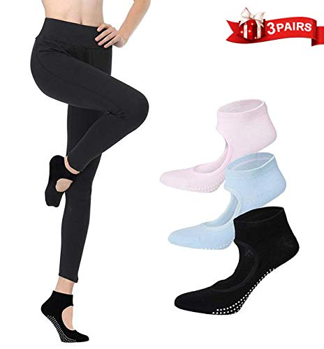 3 Pares de Calcetines Pilates-Yoga Antideslizantes Traspirable Mujer