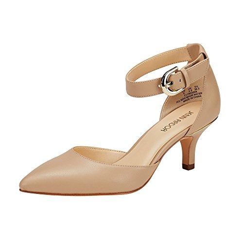 JENN ARDOR Women's Kitten Heel Pumps Ladies Closed Pointed Toe D'Orsay Ankle Strap Dress Stiletto, Natural, 8 (9.7in)