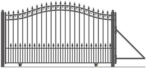 ALEKO DG14PRASSL Prague Style Single Sliding Galvanized Steel Driveway Security Gate 14 x 6 Feet Black
