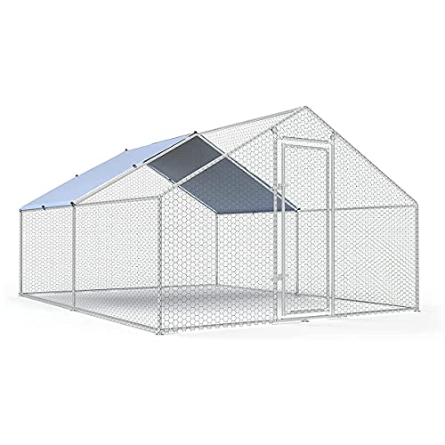Large Metal Chicken Coop Walk-in Poultry Cage Chicken Run Pen Dog Kennel Duck House Spire Shaped Coop with Waterproof and Anti-Ultraviolet Cover for Outdoor Farm Use(9.8' L x 13.1' W x 6.4' H)