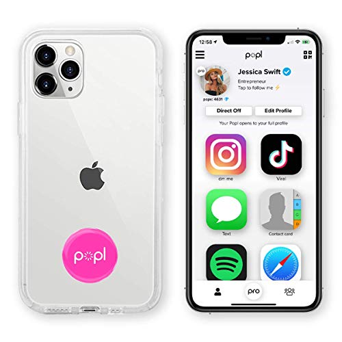 Popl (Pink) Digital Business Card and Phone Accessory - NFC Tag That Instantly Shares Social Media, Contact Info, Music, Payment Platforms and More - Compatible with iOS and Android