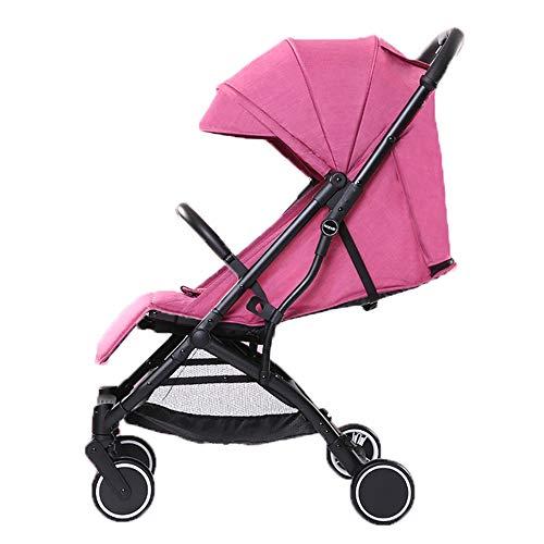 HELIn Cochecito ligero, cochecito de viaje, un clic, seguridad plegable, a prueba de golpes, canasta de almacenamiento de gran tamaño, cinturón a prueba de viento, asiento reversible para niños