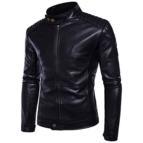 Soporte de Moda for Hombre Cuello con Cremallera Cardigan Estilo de Motocicleta Casual Multi-Parril PU Jacket (Size : 4XL)