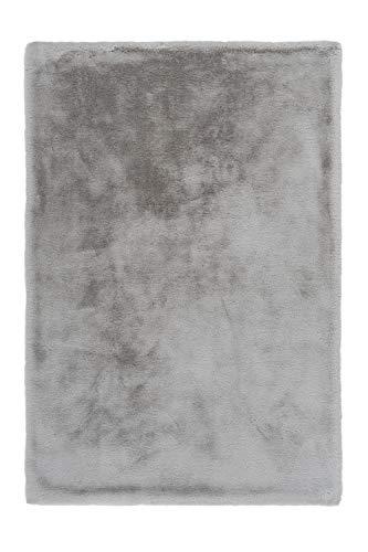 Lalee Edler weicher Kuschelteppich, Silber, 80 x 150 cm